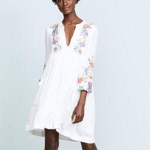 Free People White Mia Gauze Embroidered Mini Dress